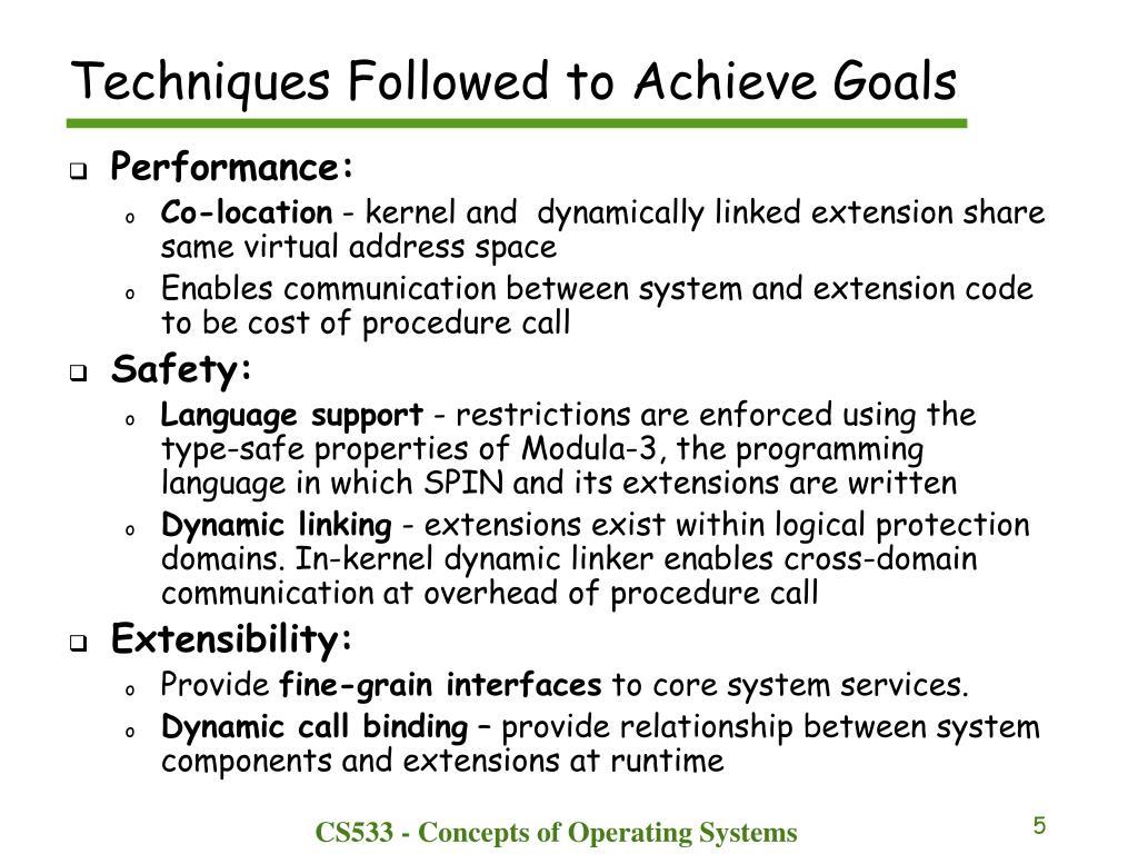 Techniques Followed to Achieve Goals