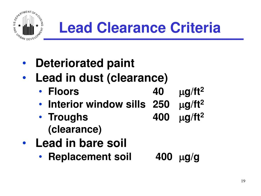 Lead Clearance Criteria