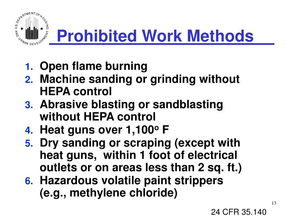 Prohibited Work Methods