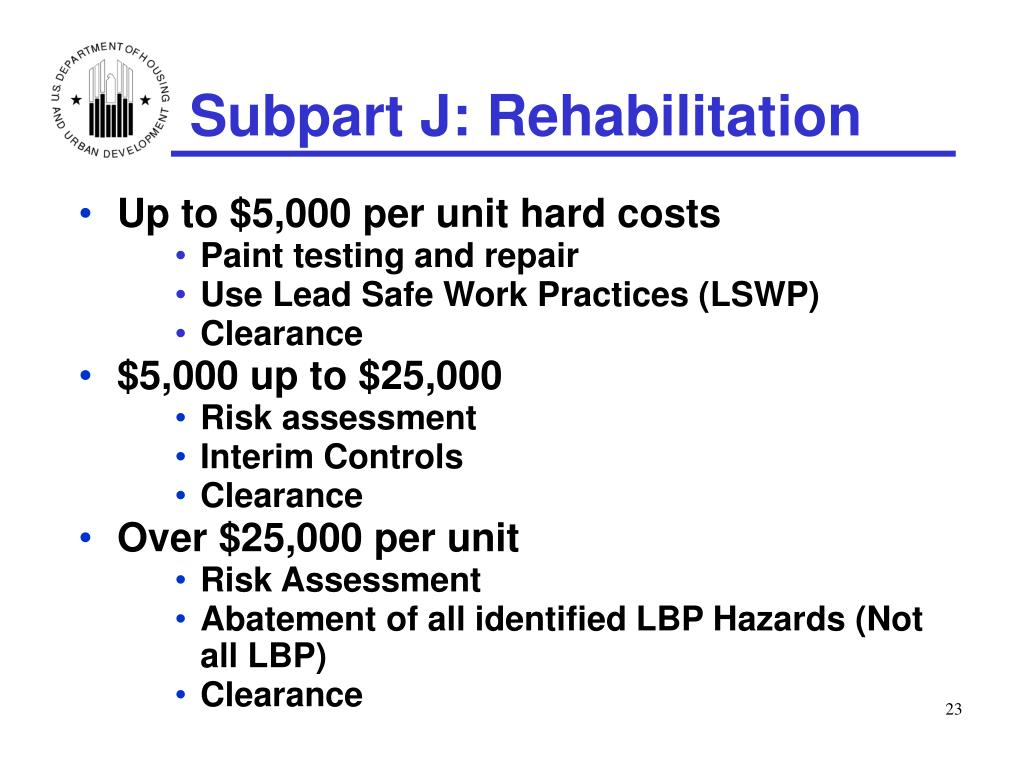 Subpart J: Rehabilitation