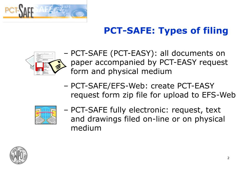 PCT-SAFE (PCT-EASY): all documents on paper accompanied by PCT-EASY request form and physical medium