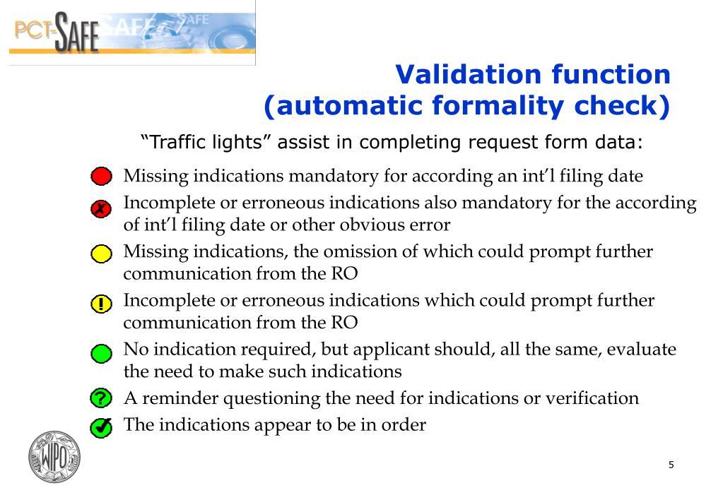 Validation function