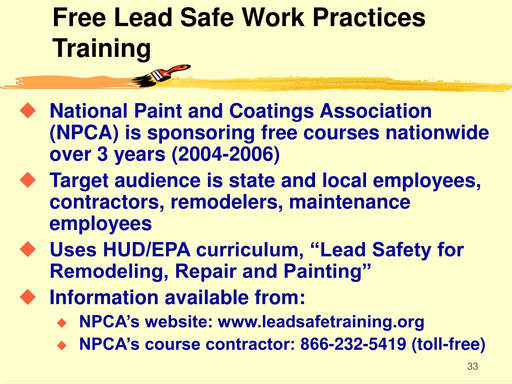 Free Lead Safe Work Practices Training
