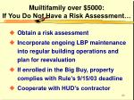 muiltifamily over 5000 if you do not have a risk assessment