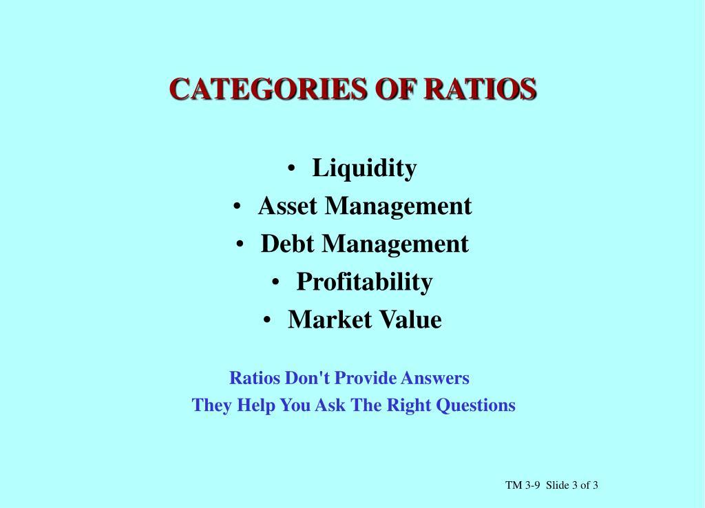 CATEGORIES OF RATIOS