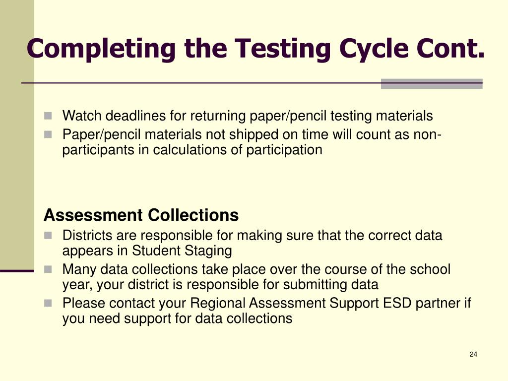 Completing the Testing Cycle Cont.