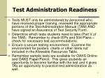 test administration readiness