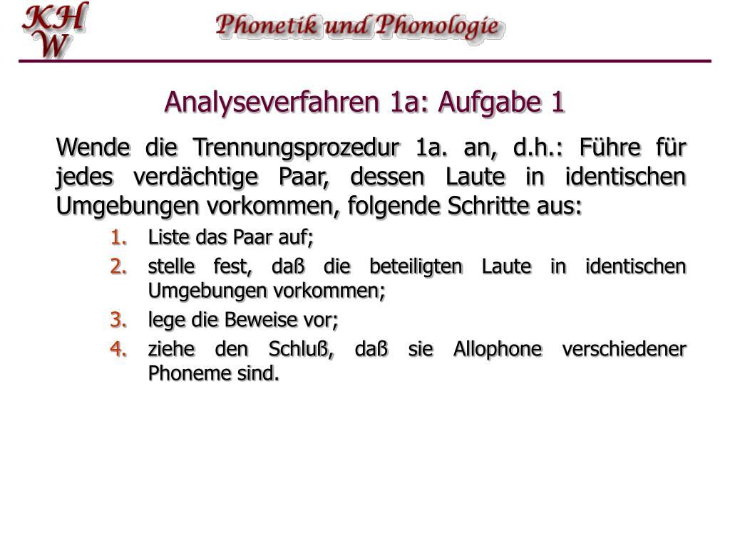 Analyseverfahren 1a: Aufgabe 1