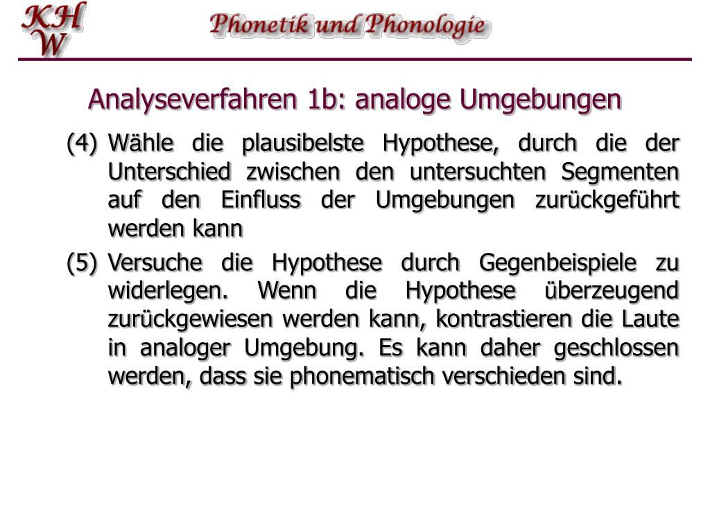 Analyseverfahren 1b: analoge Umgebungen