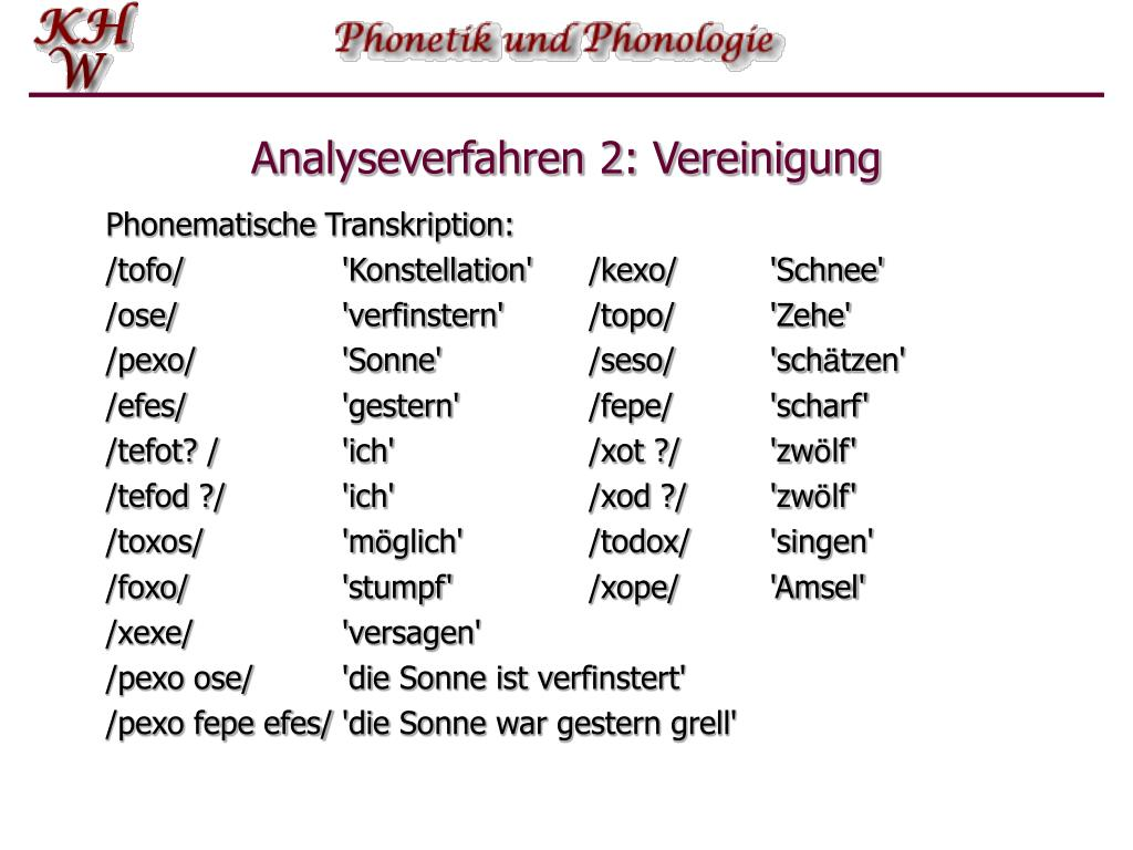 Analyseverfahren 2: Vereinigung