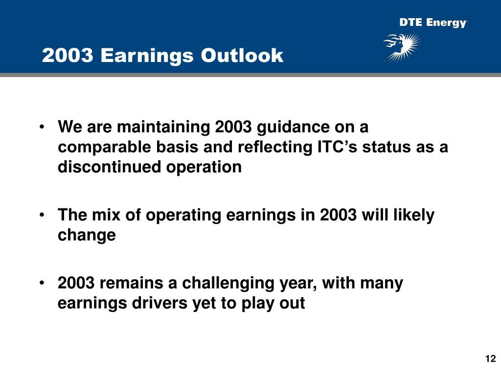2003 Earnings Outlook