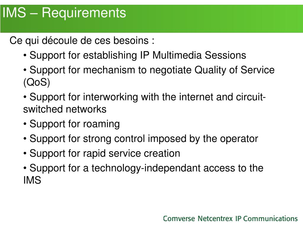 IMS – Requirements