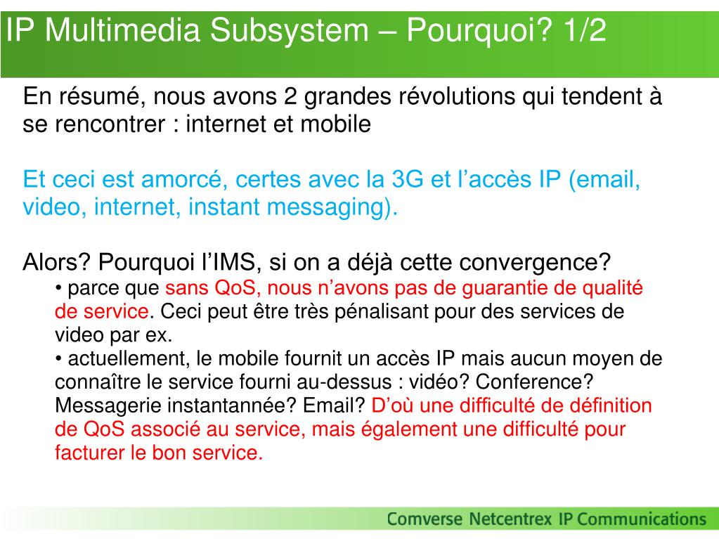 IP Multimedia Subsystem – Pourquoi? 1/2