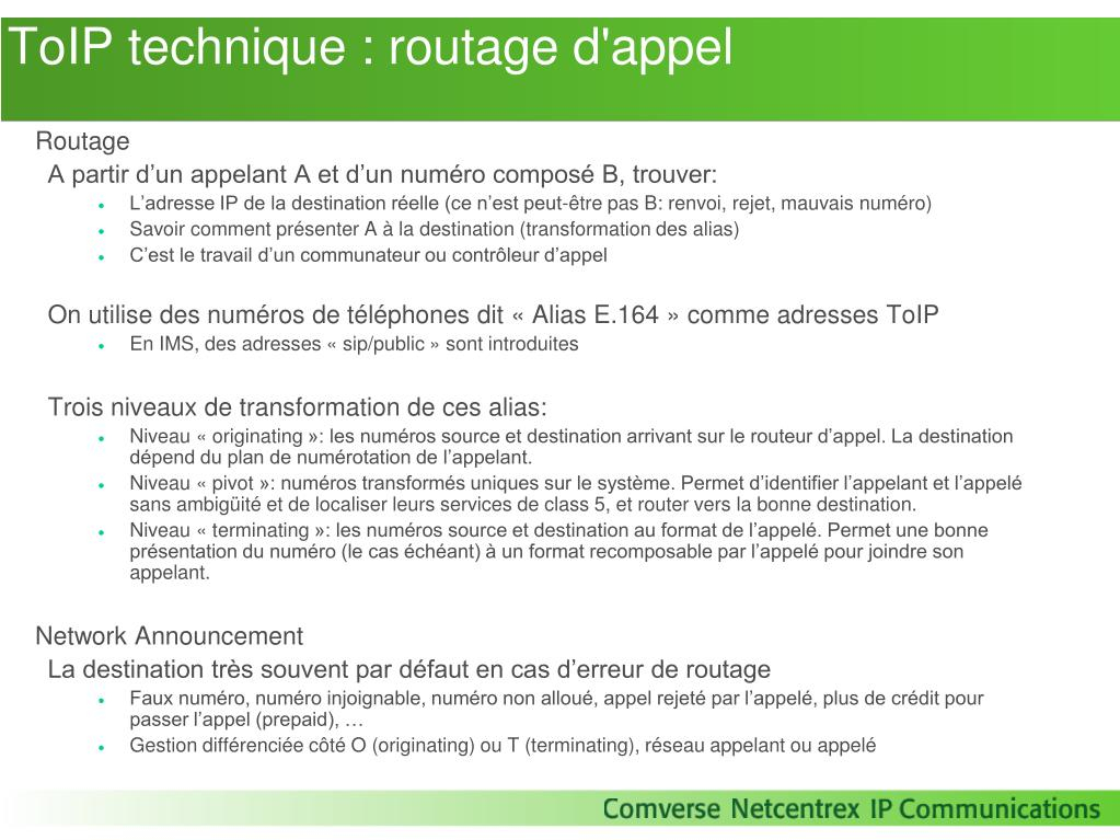 ToIP technique : routage d'appel