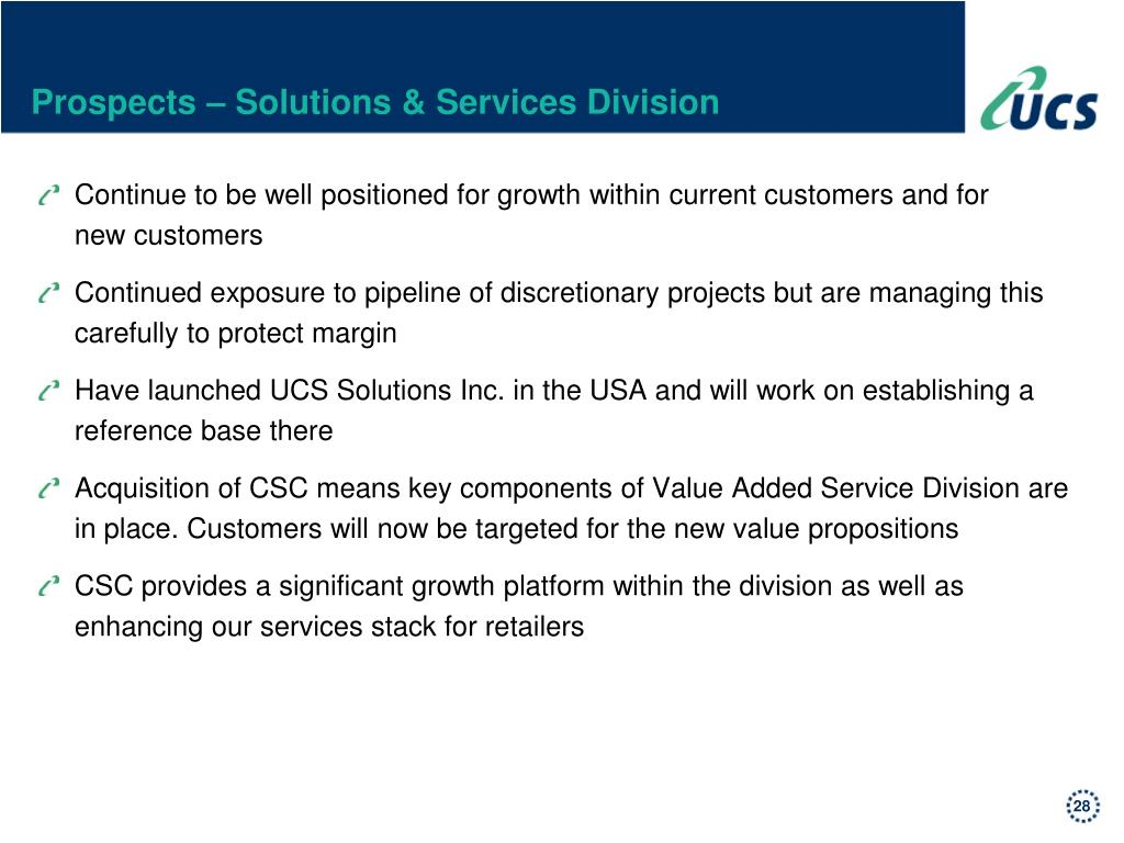 Prospects – Solutions & Services Division
