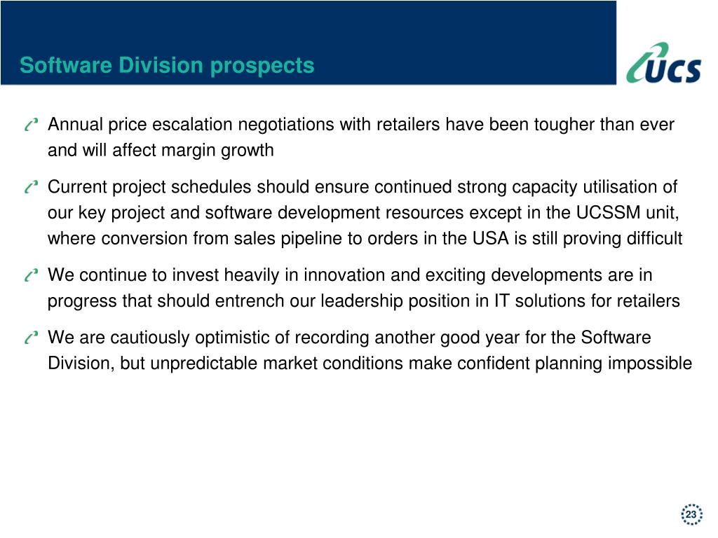 Software Division prospects