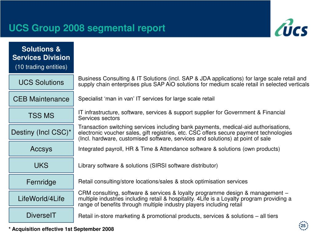 UCS Group 2008 segmental report
