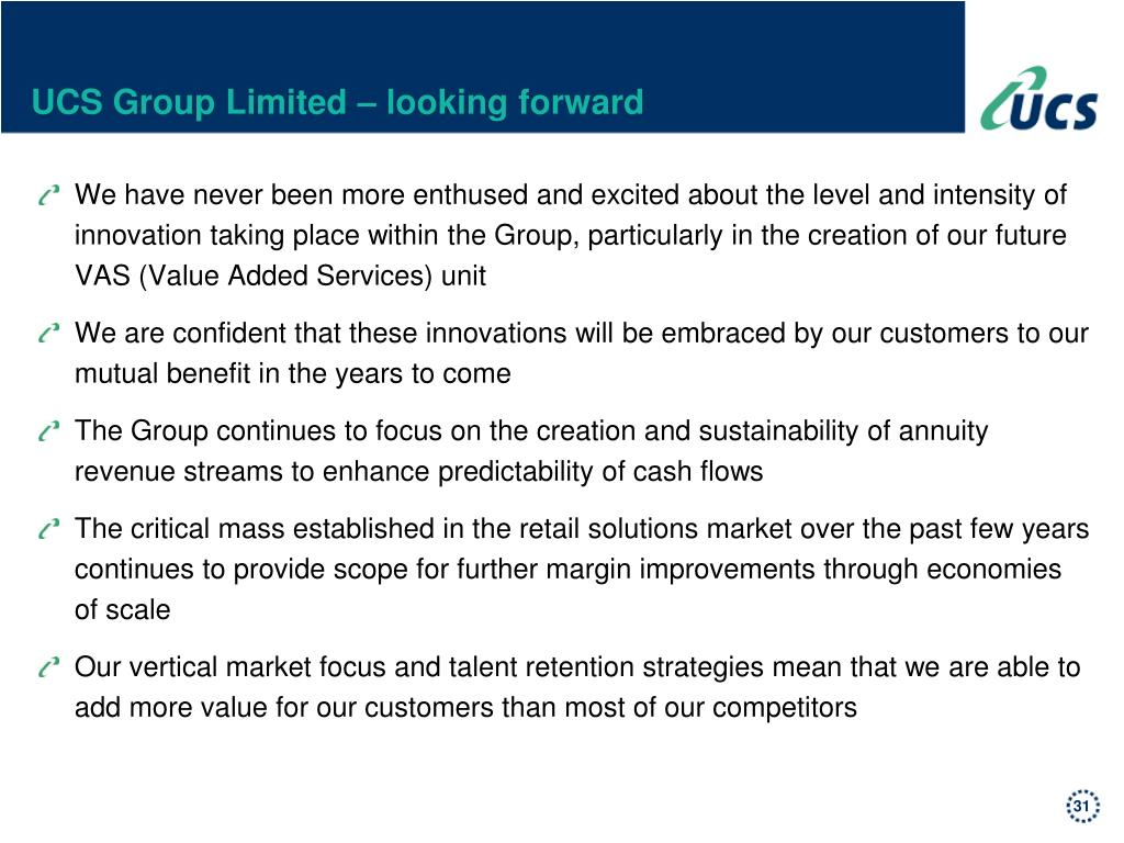 UCS Group Limited – looking forward