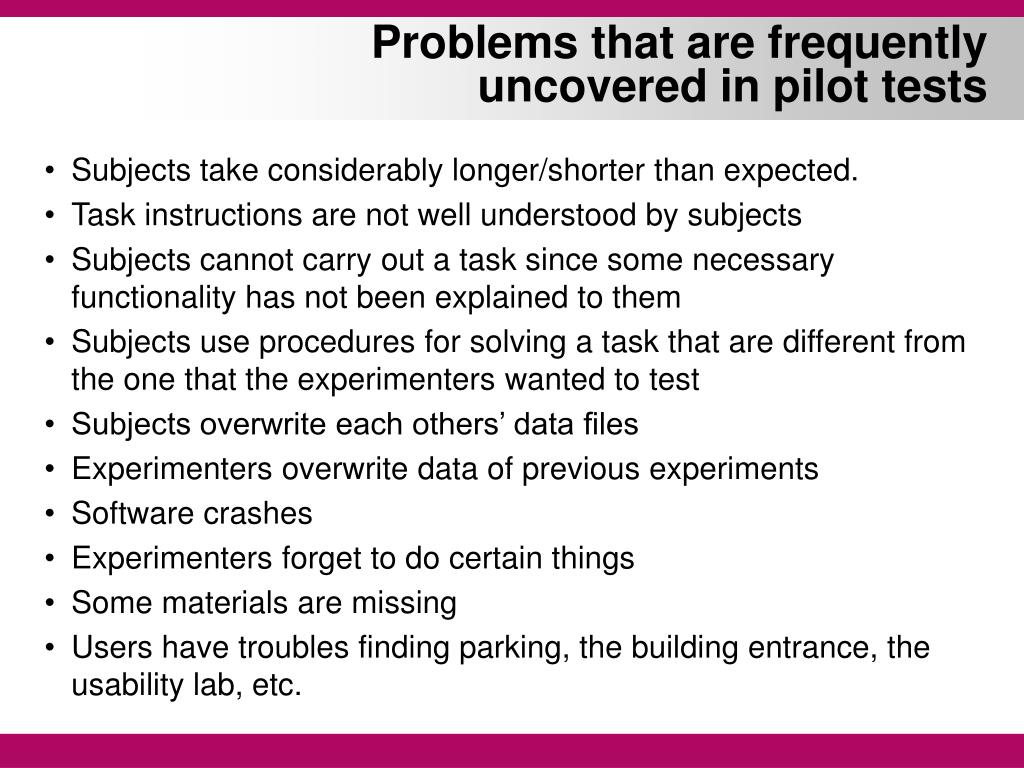 Problems that are frequently