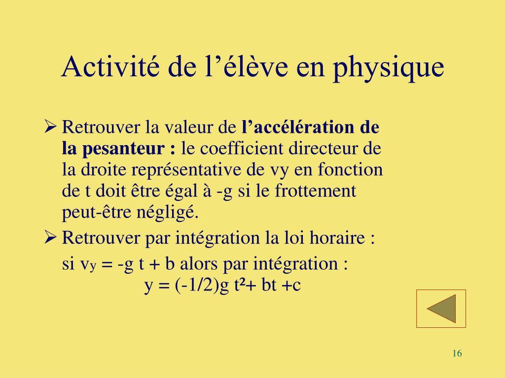 Activité de l'élève en physique