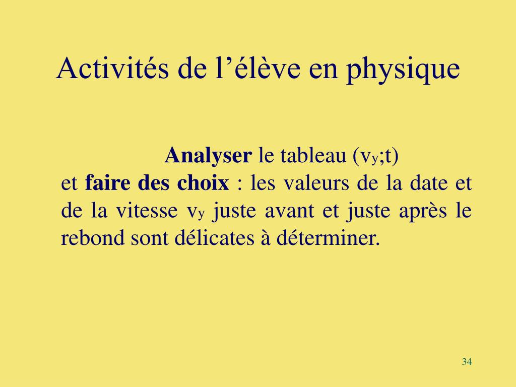 Activités de l'élève en physique