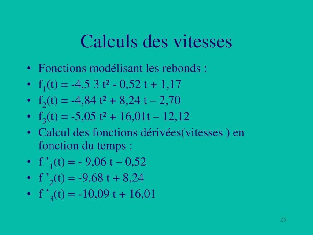 Calculs des vitesses