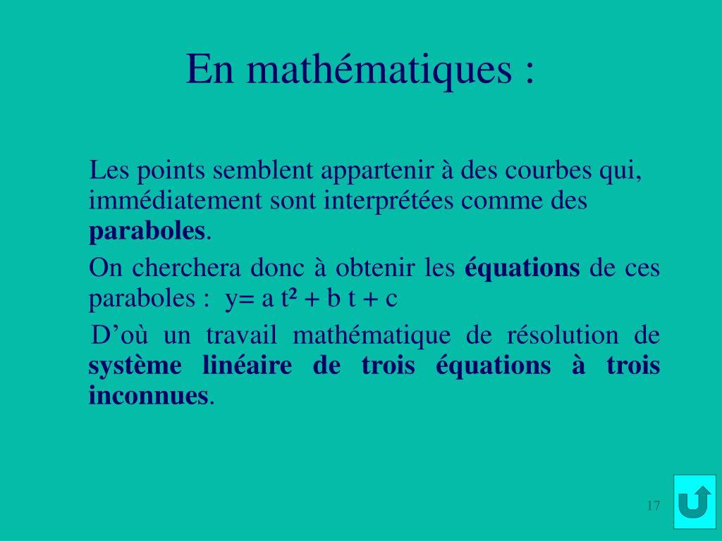 En mathématiques :