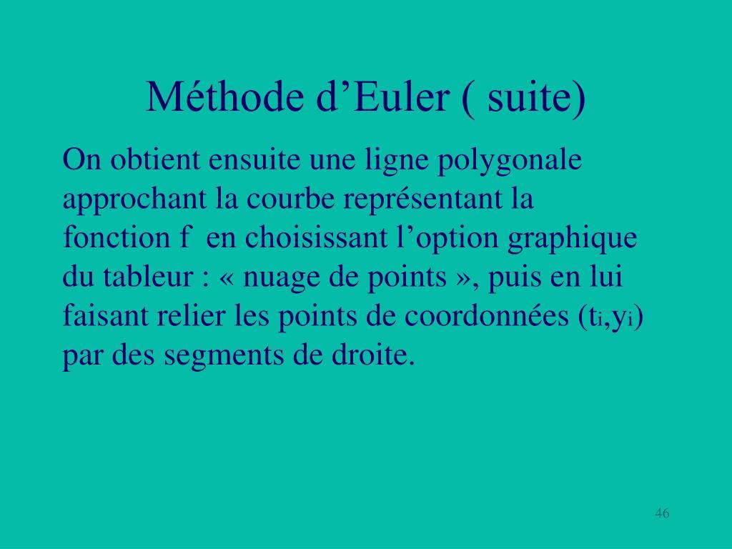 Méthode d'Euler ( suite)