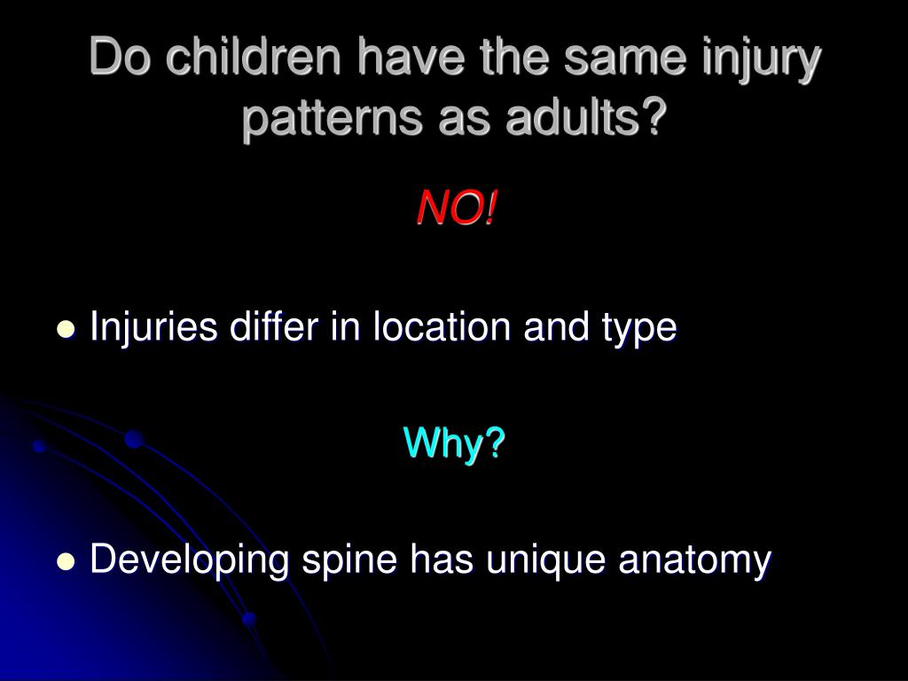 Do children have the same injury patterns as adults?