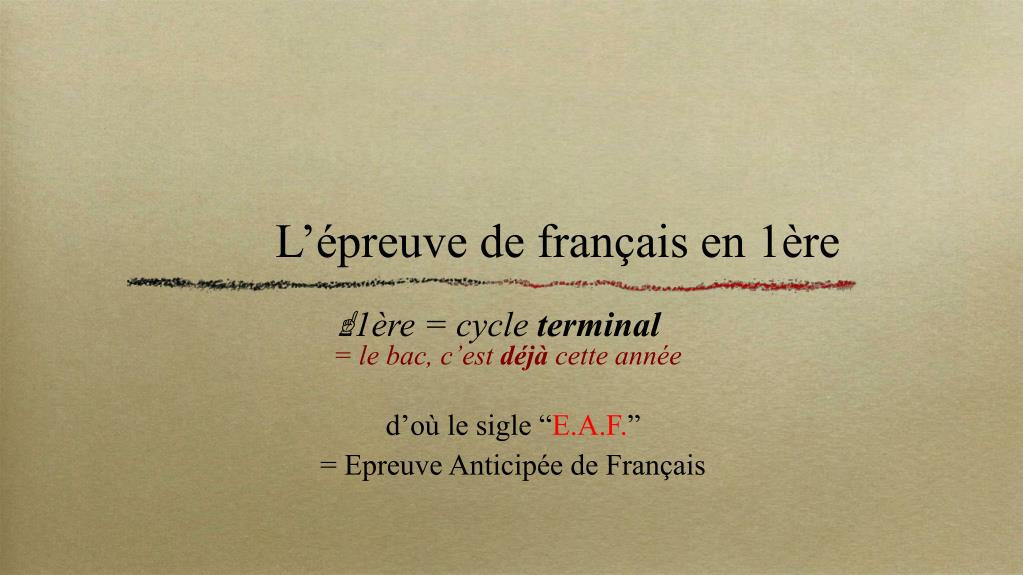 L'épreuve de français en 1ère