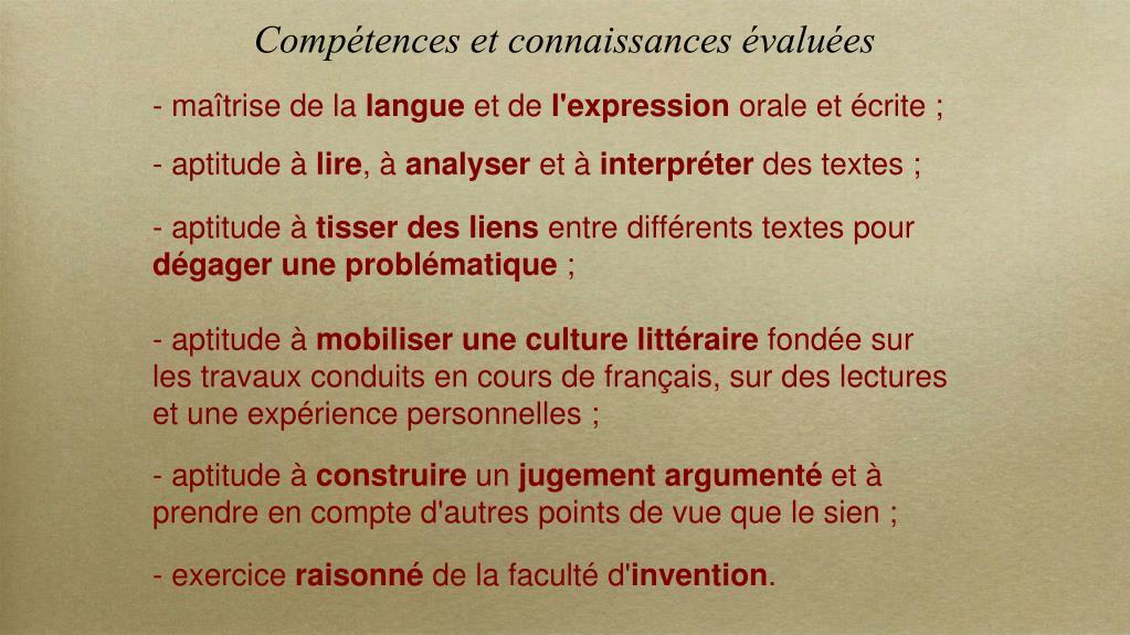 Compétences et connaissances évaluées