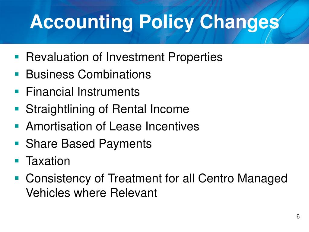 Accounting Policy Changes