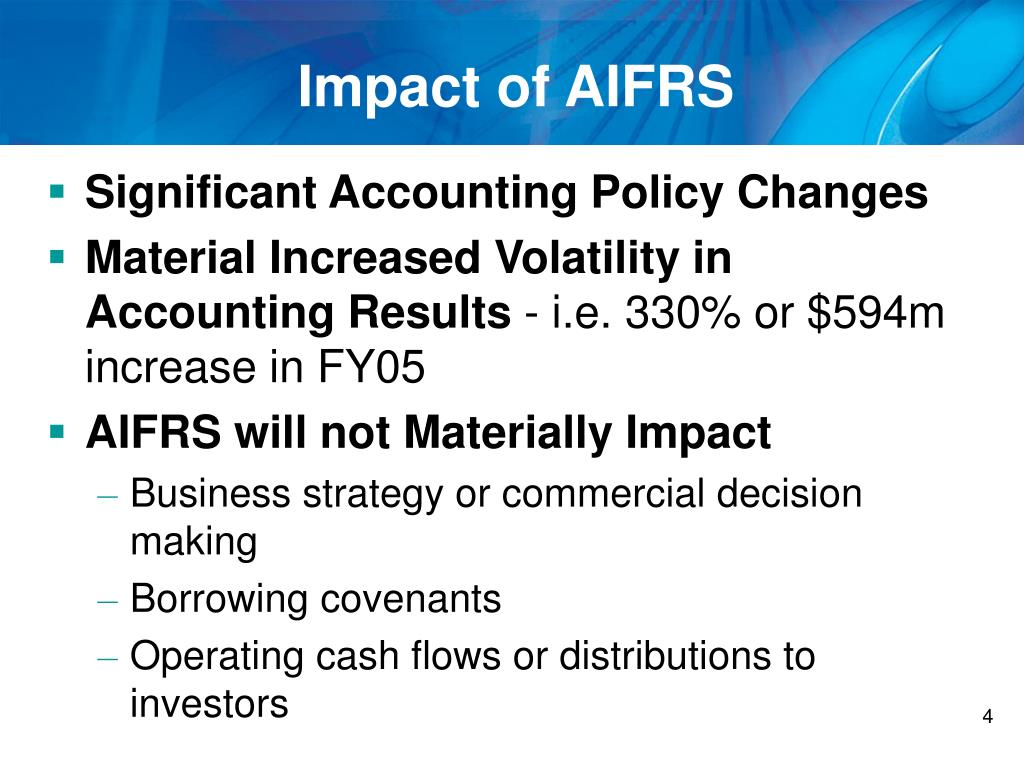 Impact of AIFRS