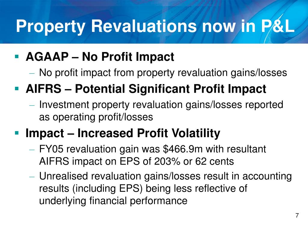 Property Revaluations now in P&L