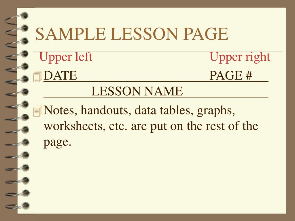 SAMPLE LESSON PAGE