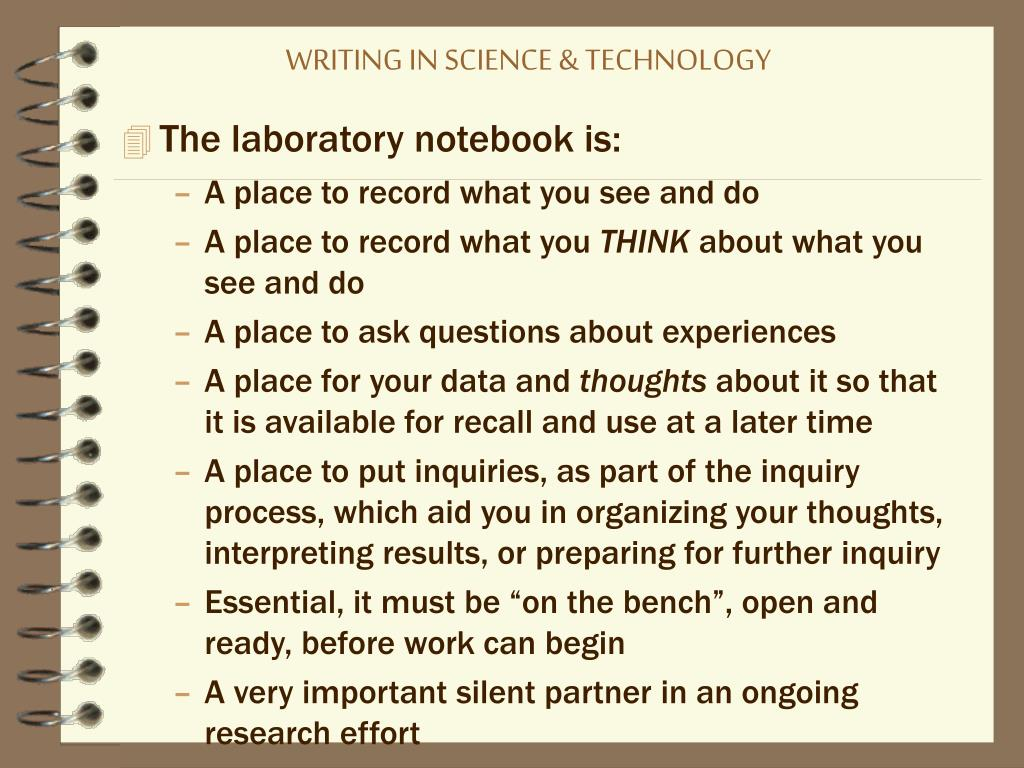 WRITING IN SCIENCE & TECHNOLOGY