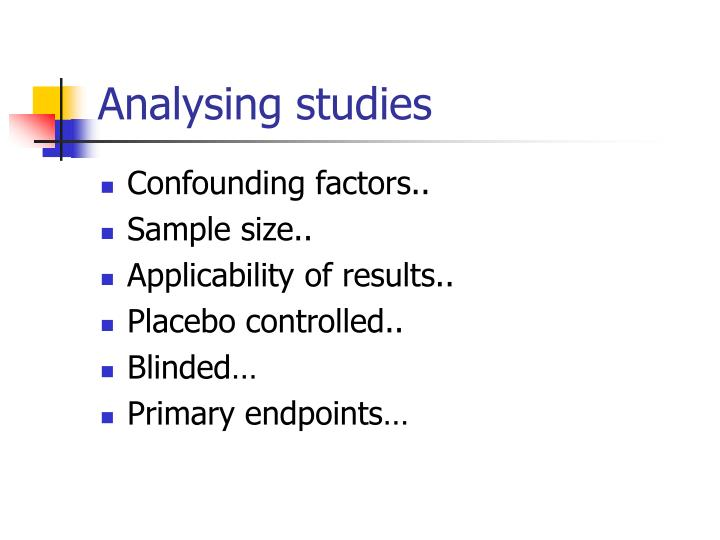 Analysing studies