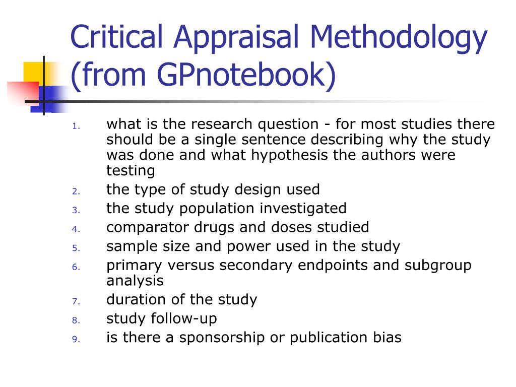 Critical Appraisal Methodology