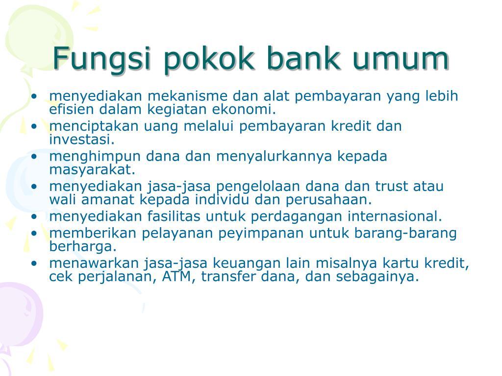 Fungsi pokok bank umum