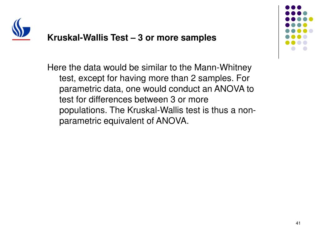 Kruskal-Wallis Test – 3 or more samples