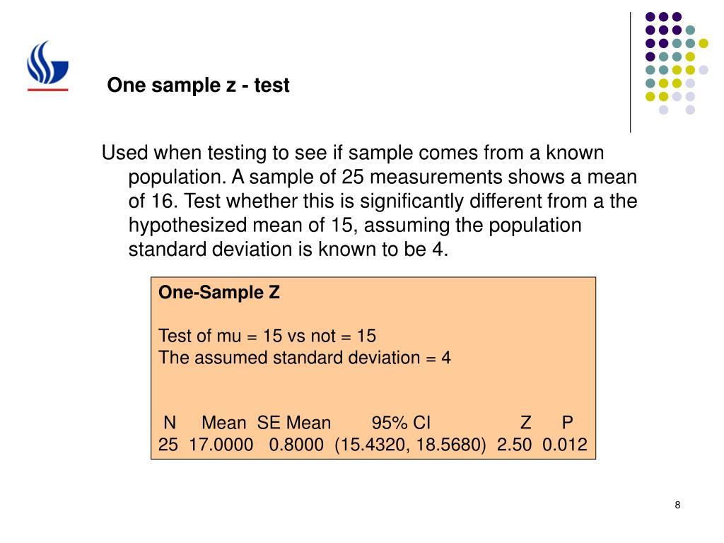 One sample z - test