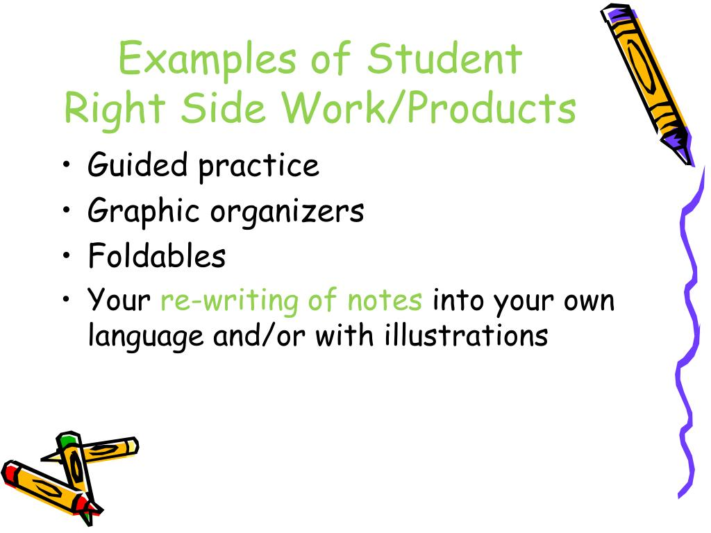 Examples of Student Right Side Work/Products