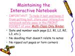 maintaining the interactive notebook