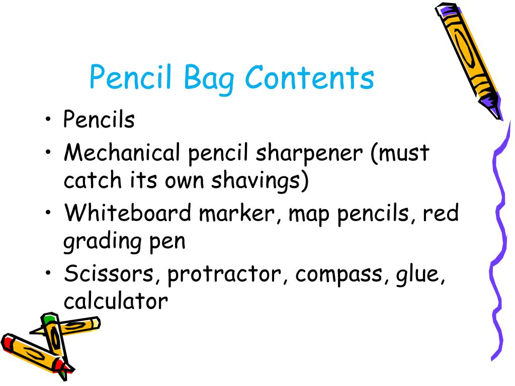 Pencil Bag Contents