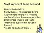 most important items learned