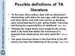 possible definitions of ya literature