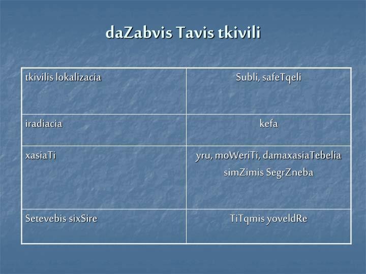 daZabvis Tavis tkivili