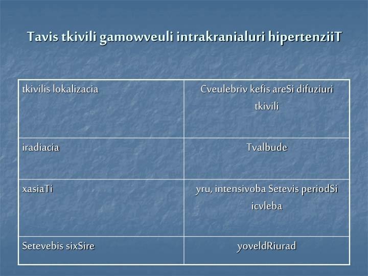 Tavis tkivili gamowveuli intrakranialuri hipertenziiT