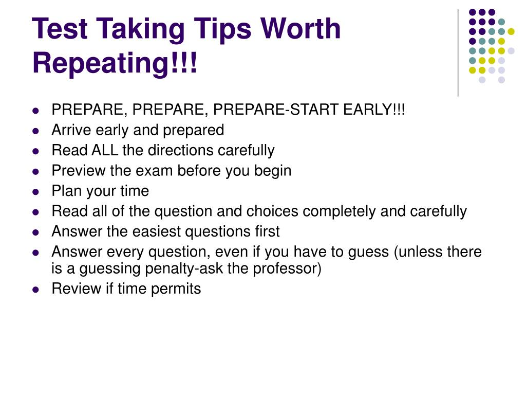 Test Taking Tips Worth Repeating!!!