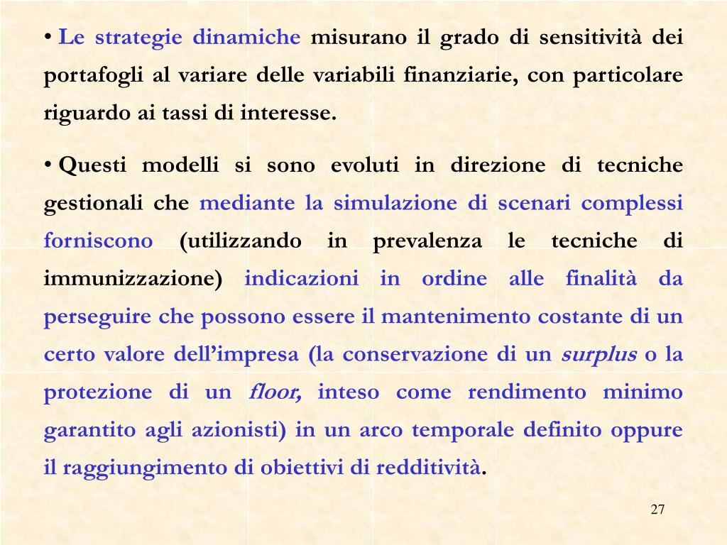 Le strategie dinamiche